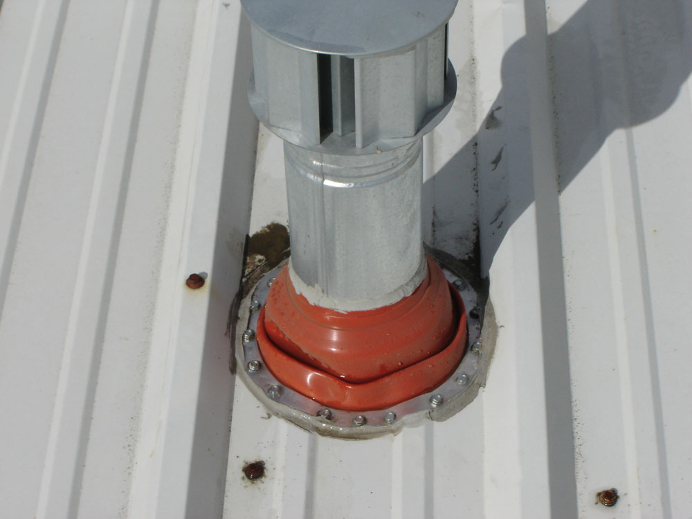 Rubber Boot Flashing on Metal Roof